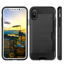 Load image into Gallery viewer, APPLE IPHONE X HYBRID CARD TO GO CASE BLACK TPU W/ SILK BACK PLATE - BLACK