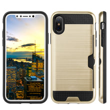 Load image into Gallery viewer, APPLE IPHONE X HYBRID CARD TO GO CASE BLACK TPU W/ SILK BACK PLATE -GOLD