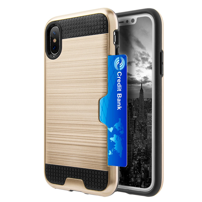 APPLE IPHONE X HYBRID CARD TO GO CASE BLACK TPU W/ SILK BACK PLATE -GOLD