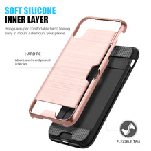 Load image into Gallery viewer, APPLE IPHONE X HYBRID CARD TO GO CASE BLACK TPU W/ SILK BACK PLATE - ROSE GOLD