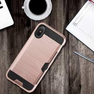 APPLE IPHONE X HYBRID CARD TO GO CASE BLACK TPU W/ SILK BACK PLATE - ROSE GOLD