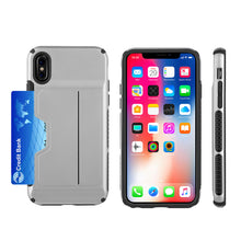 Load image into Gallery viewer, APPLE IPHONE X CARD TO GO II HYBRID CASE PC + TPU WITH CARD SLOT - SILVER