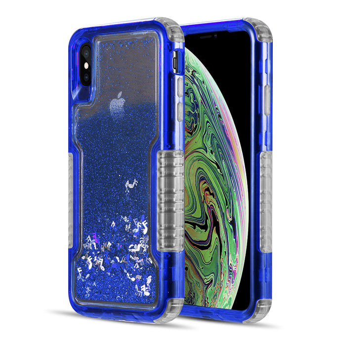 MILITARY GRADE DUAL PROTECTIVE WATERFALL SERIES LIQUID SPARKLING QUICKSAND CASE FOR IPHONE BLUE