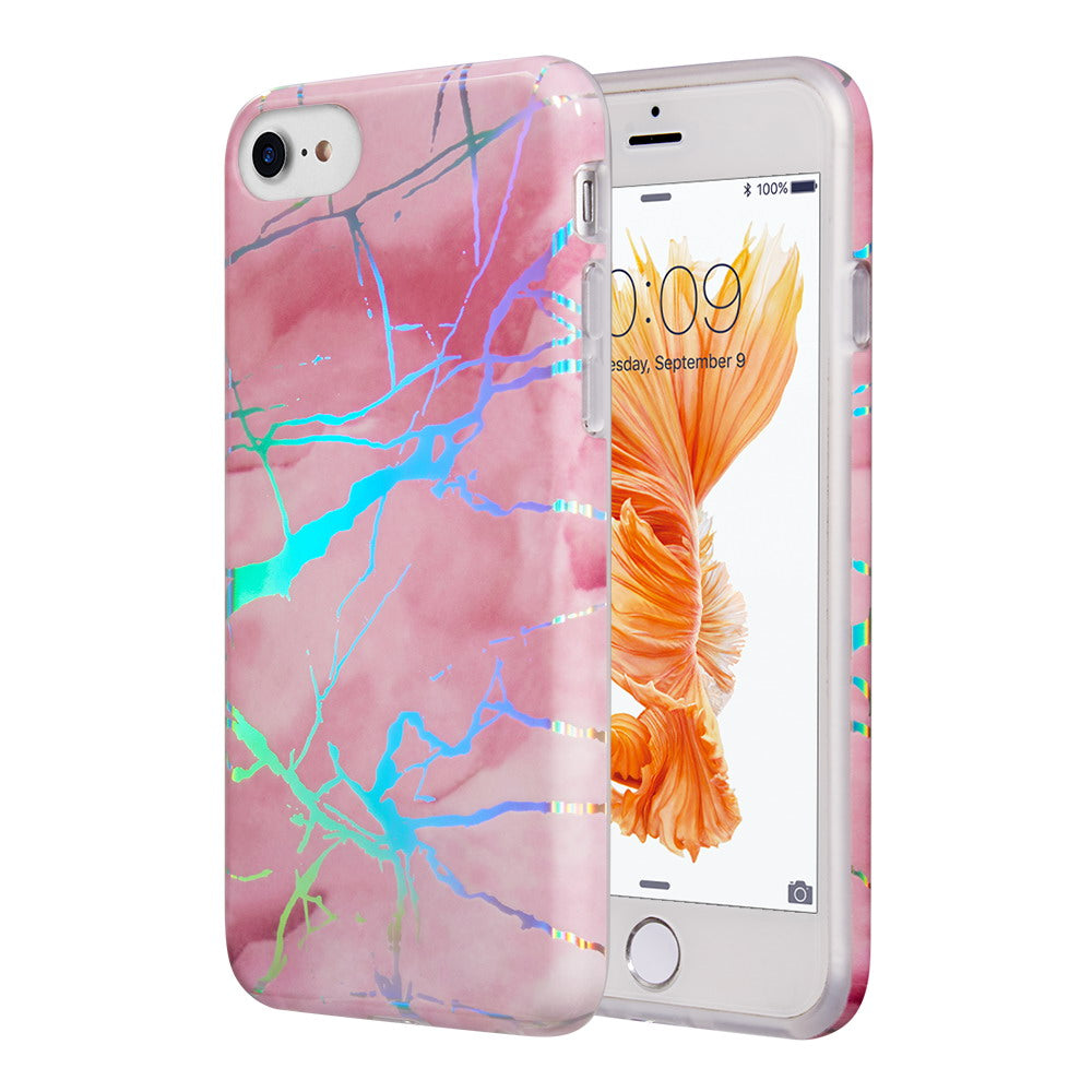 THE LIGHTNING MARBLE IMD SOFT TPU CASE FOR IPHONE 8 / 7 / 6 - PINK