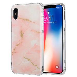 APPLE IPHONE X SPARKLING MARBLE IMD SOFT TPU CASE - ORANGE