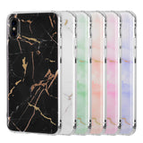 APPLE IPHONE X SPARKLING MARBLE IMD SOFT TPU CASE - PINK