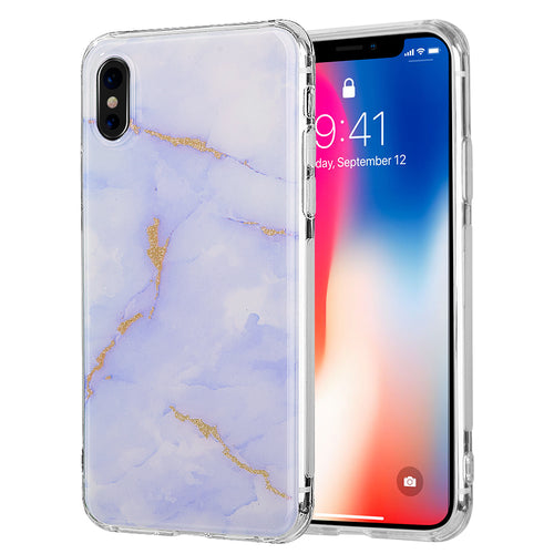APPLE IPHONE X SPARKLING MARBLE IMD SOFT TPU CASE - PURPLE