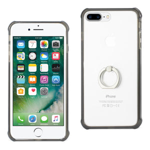 IPHONE TRANSPARENT AIR CUSHION PROTECTOR BUMPER CASE WITH RING HOLDER IN BLACK