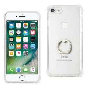 IPHONE TRANSPARENT AIR CUSHION PROTECTOR BUMPER CASE WITH RING HOLDER IN CLEAR