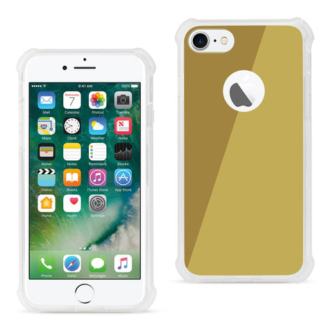 IPHONE MIRROR EFFECT CLEAR CASE WITH AIR CUSHION SHOCK ABSORTION IN GOLD