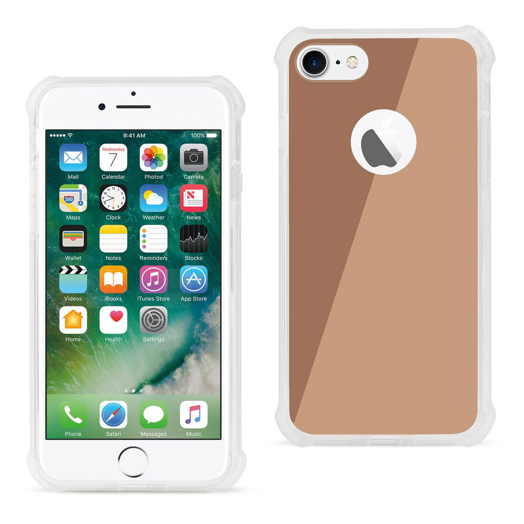 IPHONE MIRROR EFFECT CLEAR CASE WITH AIR CUSHION SHOCK ABSORTION IN ROSEGOLD