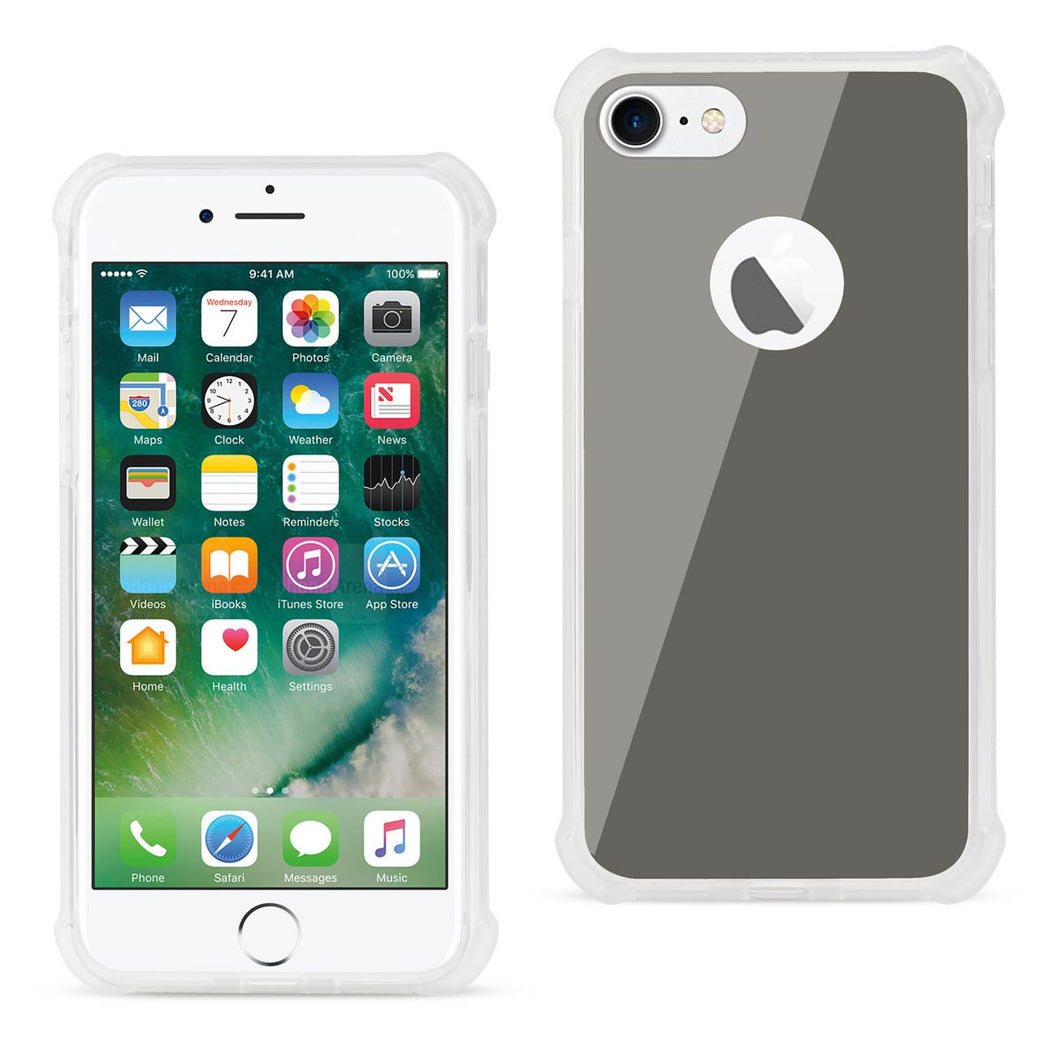 IPHONE MIRROR EFFECT CLEAR CASE WITH AIR CUSHION SHOCK ABSORTION IN SILVER