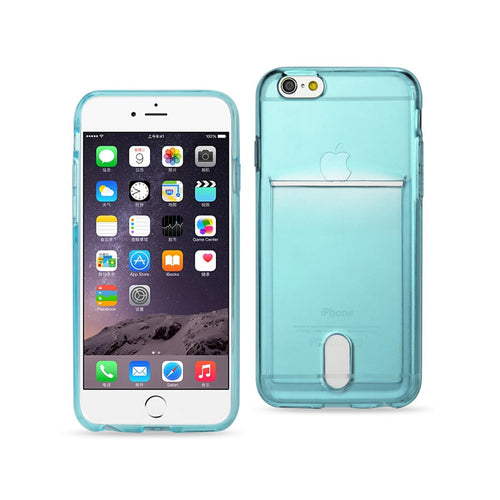 IPHONE 6 PLUS SEMI CLEAR CASE WITH CARD HOLDER IN CLEAR BLUE