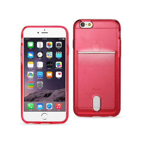 IPHONE 6 PLUS REIKO SEMI CLEAR CASE WITH CARD HOLDER IN CLEAR RED
