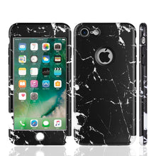 Load image into Gallery viewer, APPLE IPHONE 7 FULL PROTECTION WRAP UP MARBLE CASES WITH TEMPERED GLASS PROTECTOR - BLACK
