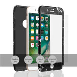 APPLE IPHONE 7 FULL PROTECTION WRAP UP MARBLE CASES WITH TEMPERED GLASS PROTECTOR - BLACK