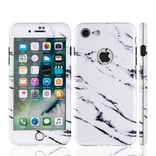 Load image into Gallery viewer, APPLE IPHONE 7 FULL PROTECTION WRAP UP MARBLE CASES WITH TEMPERED GLASS PROTECTOR - WHITE