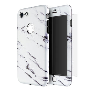 APPLE IPHONE 7 FULL PROTECTION WRAP UP MARBLE CASES WITH TEMPERED GLASS PROTECTOR - WHITE