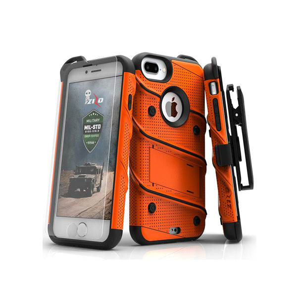 IPHONE 6 PLUS / 6S PLUS / 7 PLUS / 8 PLUS - BOLT COVER W/ KICKSTAND, HOLSTER, TEMPERED GLASS SCREEN PROTECTOR, LANYARD - ORANGE / BLACK