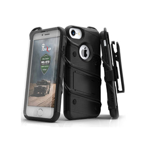 IPHONE 6 / 6S / 7 / 8 - BOLT COVER W/ KICKSTAND, HOLSTER, TEMPERED GLASS SCREEN PROTECTOR, LANYARD - BLACK / BLACK