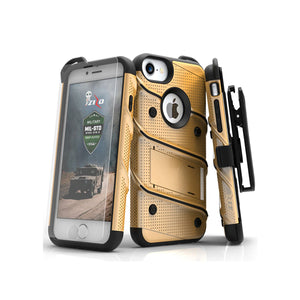 IPHONE 6 / 6S / 7 / 8 - BOLT COVER W/ KICKSTAND, HOLSTER, TEMPERED GLASS SCREEN PROTECTOR, LANYARD - GOLD / BLACK