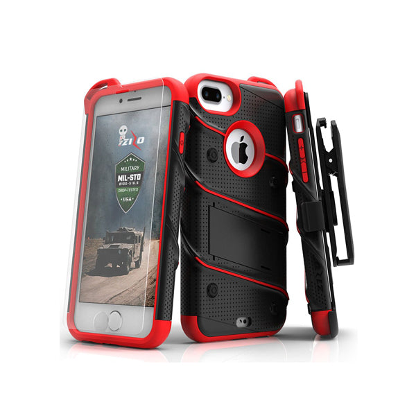 IPHONE 6 PLUS / 6S PLUS / 7 PLUS / 8 PLUS - BOLT COVER W/ KICKSTAND, HOLSTER, TEMPERED GLASS SCREEN PROTECTOR, LANYARD - BLACK / RED