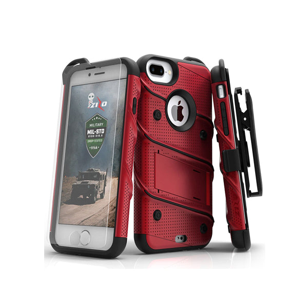 IPHONE 6 PLUS / 6S PLUS / 7 PLUS / 8 PLUS - BOLT COVER W/ KICKSTAND, HOLSTER, TEMPERED GLASS SCREEN PROTECTOR, LANYARD - RED / BLACK