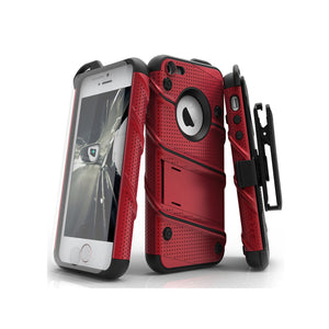 IPHONE 5 / 5S / SE - BOLT COVER W/ KICKSTAND, HOLSTER, TEMPERED GLASS SCREEN PROTECTOR & LANYARD - RED / BLACK