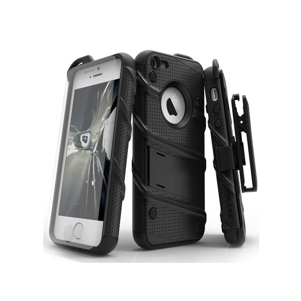 IPHONE 5 / 5S / SE - BOLT COVER W/ KICKSTAND, HOLSTER, TEMPERED GLASS SCREEN PROTECTOR & LANYARD - BLACK / BLACK