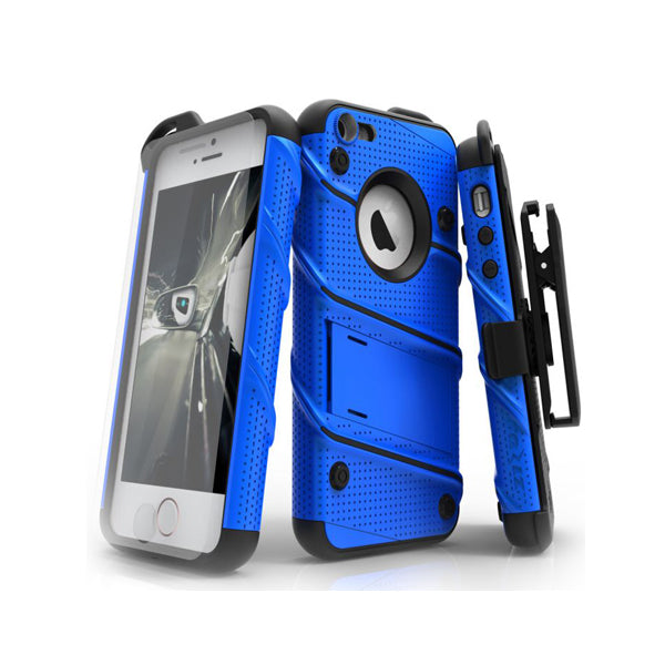 IPHONE 6 / 6S / 7 / 8 - BOLT COVER W/ KICKSTAND, HOLSTER, TEMPERED GLASS SCREEN PROTECTOR, LANYARD - BLUE / BLACK