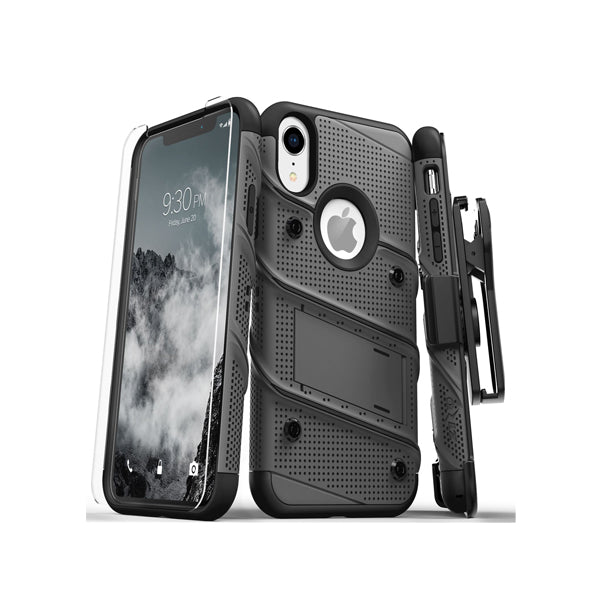 IPHONE XR- BOLT COVER W/ KICKSTAND HOLSTER, TEMPERED GLASS SCREEN PROTECTOR, LANYARD - BLACK / BLACK