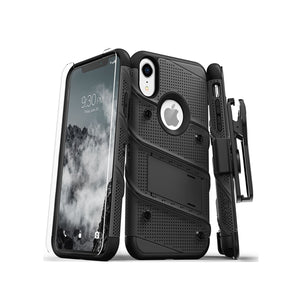 IPHONE XR - BOLT COVER W/ KICKSTAND HOLSTER, TEMPERED GLASS SCREEN PROTECTOR, LANYARD - BLACK / BLACK