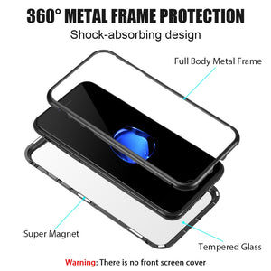ALUMINUM MAGNETIC INSTANT SNAP CASE WITH TEMPERED GLASS BACK PLATE FOR IPHONE 8 / 7 - BLACK