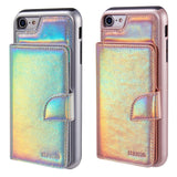 IPHONE 8 / 7 THE UNICORN POUCH CASE WITH HOLOGRAPHIC LEATHER FINISH - PINK