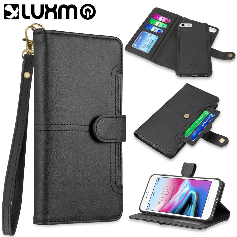 DETACHABLE WALLET CASE WITH ID WINDOWS AND EXTRA CARD SLOTS FOR IPHONE 8 / 7 / 6 - BLACK