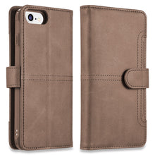 Load image into Gallery viewer, DETACHABLE WALLET CASE WITH ID WINDOWS AND EXTRA CARD SLOTS FOR IPHONE 8 / 7 / 6 - BROWN