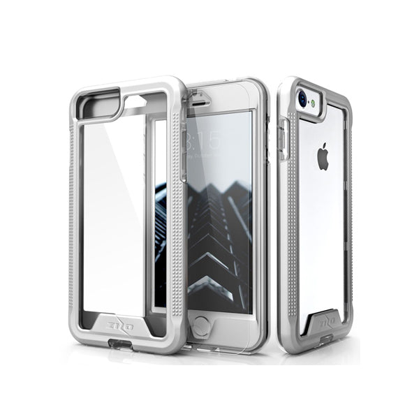 IPHONE 6 / 6S / 7 / 8 - ZIZO ION SINGLE LAYERED HYBRID COVER W/ CUSTOMIZED TEMPERED GLASS SCREEN PROTECTOR - SILVER / CLEAR
