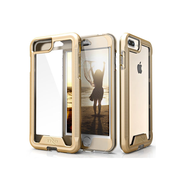 IPHONE 6 PLUS / 6S PLUS / 7 PLUS / 8 PLUS - ZIZO ION SINGLE LAYERED HYBRID COVER W/ TEMPERED GLASS SCREEN PROTECTOR - GOLD / CLEAR