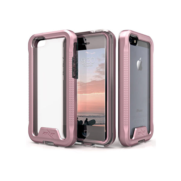 IPHONE 5 / 5S / SE - ZIZO ION TRIPLE LAYERED HYBRID COVER - ROSE GOLD/CLEAR