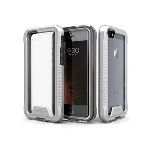 IPHONE 5 / 5S / SE - ZIZO ION TRIPLE LAYERED HYBRID COVER W/ TEMPERED GLASS SCREEN PROTECTOR -SILVER / CLEAR