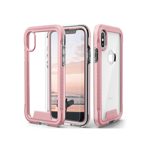 IPHONE X / XS - ZIZO ION TRIPLE LAYERED HYBRID COVER - ROSE GOLD / CLEAR