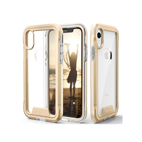 IPHONE XR - ZIZO ION TRIPLE LAYERED HYBRID CASE - GOLD / CLEAR