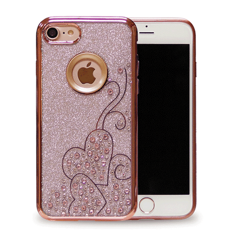 IPHONE PINK GLITTER HEART RHINESTONE CASE