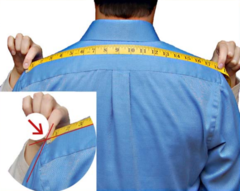 Custom tailored suit shoulder measurement