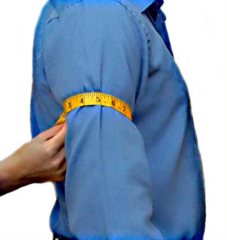 Custom tailored suit bicep measurement