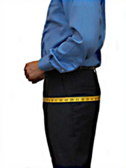 Custom tailored suit hip measurement