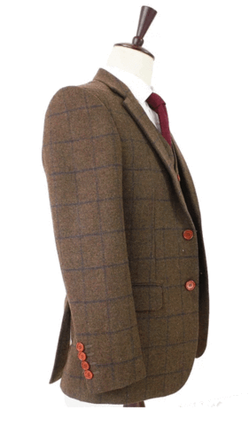 Brown check tweed suit