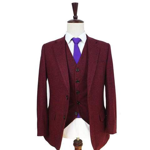 Red classic tweed suit