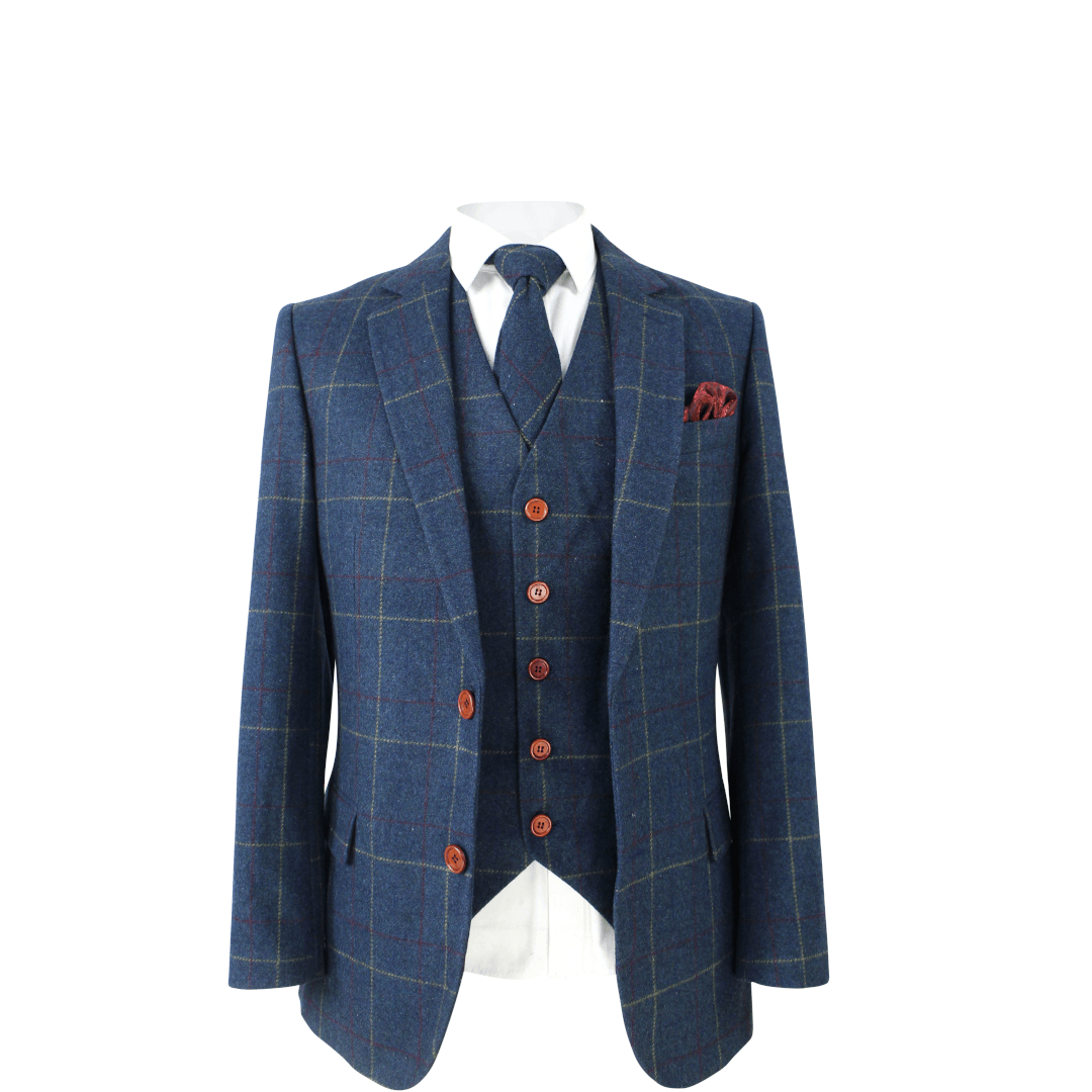 Retro Blue Check Tweed Jacket & Waistcoat USA Clearance