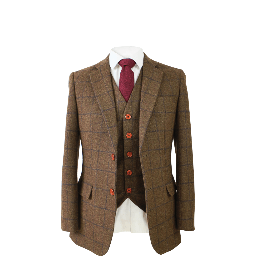 Brown Check Tweed Jacket & Waistcoat Clearance